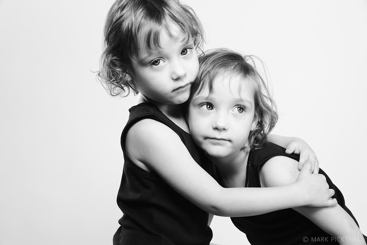 twins monochrome portrait