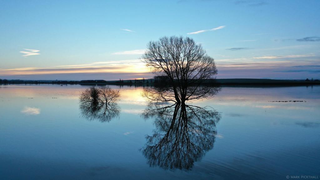 Muchelney floods drone dji trees