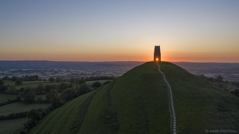 Glastonbury Tor Sunrise drone dji